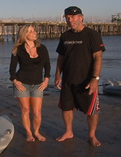 Aprilanne Hurley checks out Stand Up Paddle Boarding with Big Wave Surfer Legend and Maverick's Surf competition Founder Jeff Clark